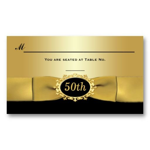 50th Wedding Anniversary Gift Certificate Template : ... Place cards on Pinterest Black gold, Receptions and Place cards