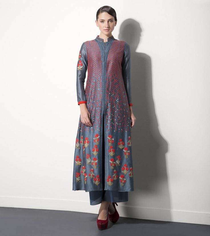 Smoky Blue Embroidered Chanderi Kurta Set