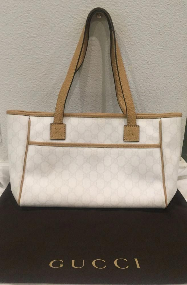 1d754b9f2e4 Authentic GUCCI Handbag-Ivory Monogram w  Brown Leather  purses  fashion   HandmadeHandbags