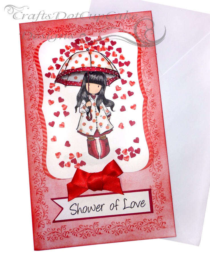 Gorjuss Girls Are one of my favorite Images to use on cards, and here's one I made using Puddles of Love