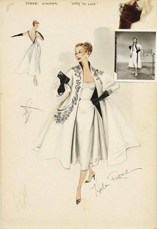 style-on-screen:    Original costume design sketches for Esther Williams by Helen Rose.