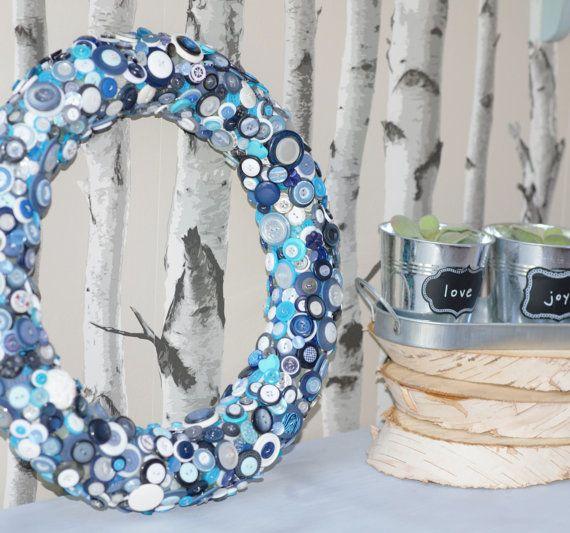 Button Wreath, Blue and White Button Wreath, Home Decor, Handmade Blue Accent, Nautical Wreath
