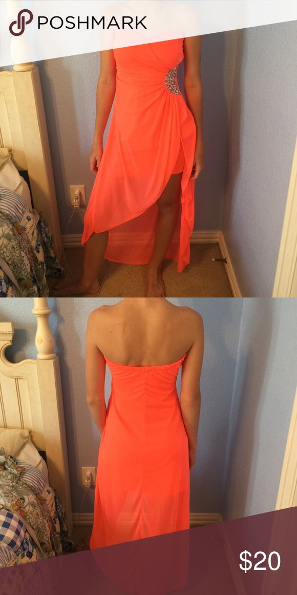 Coral homecoming dress High low Neon coral homecoming dress with rhinestones on the side Dresses Strapless