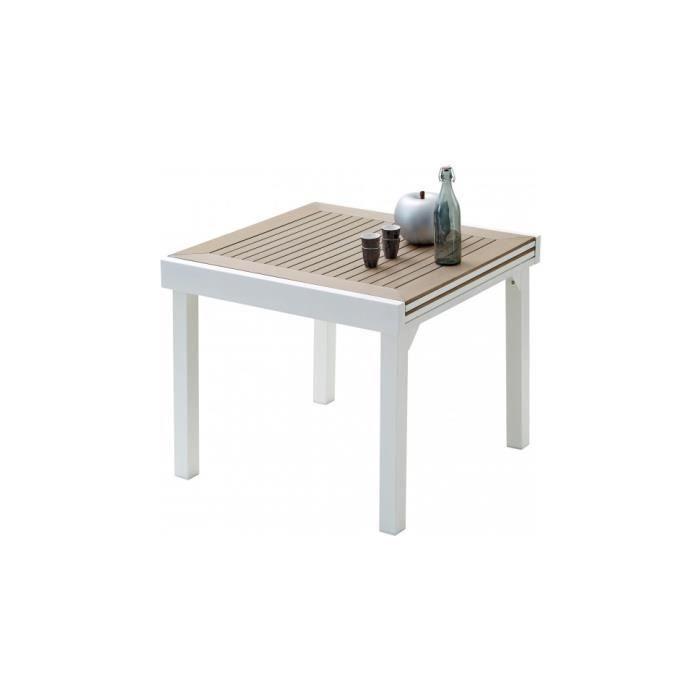table de jardin table de jardin carrée extensible aluminium blanc