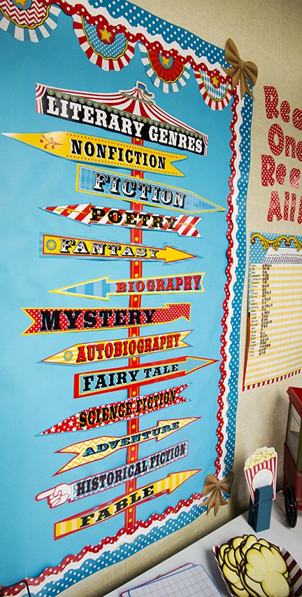 Carnival Literary Genres Mini Bulletin Board - Teach students about different literary genres with this whimsical carnival-themed mini bulletin board. Includes 1 title piece, 12 genre signs, and 4 pole pieces. Over 4 feet tall when fully assembled!