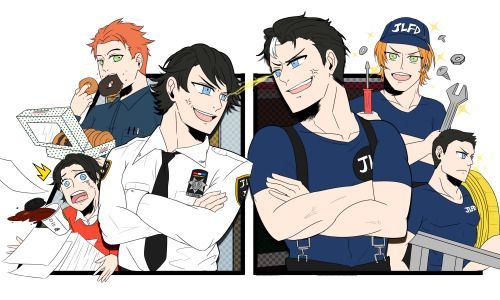 """Officer Grayson, I mustache you, Firefighter Jason!! (❛ᴗ❛人)✧[[MORE]]Cops vs Firefighters AU (just cus)Some highlights:Bruce is the Police Commissioner, while Clark is the Fire Chief.The Waynes are a family of cops, but Jason was all """"I wanna be a firefighter!"""" (Bruce is heartbroken)Turf wars. So many turf wars (think B99 S1 Ep 9 lol).Tim's an intern, and Kon's a student volunteer. Wally and Roy are mechanics. Sometimes Wally runs evidence to Barry (who works at the precinct), and Roy t..."""