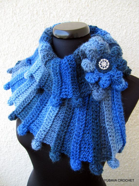 "Tutorial Crochet Scarf Pattern, PDF Crochet Scarf Multicolour Blue ""Fantasy"", Lyubava Design Instant Download Pattern number 90 on Etsy, $4.50"