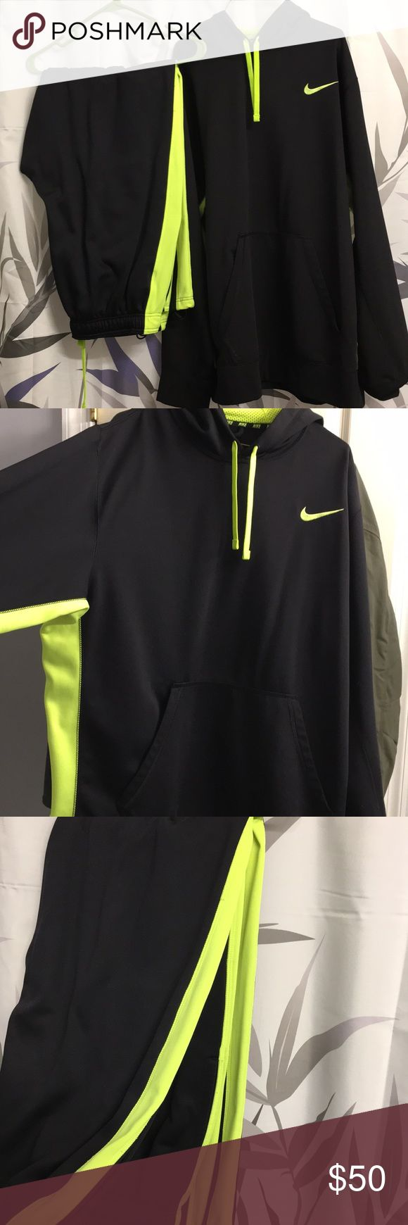 Bundle of 3! Like new men's Nike sweatsuit and top Matching Nike sweatpants, shirt, and hoodie. Black with fluorescent green/yellow accents. Like new condition and barely worn! All pieces size XXL Nike Pants Sweatpants & Joggers