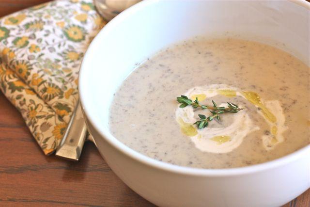 """Cream"" of mushroom soup with cashew cream"