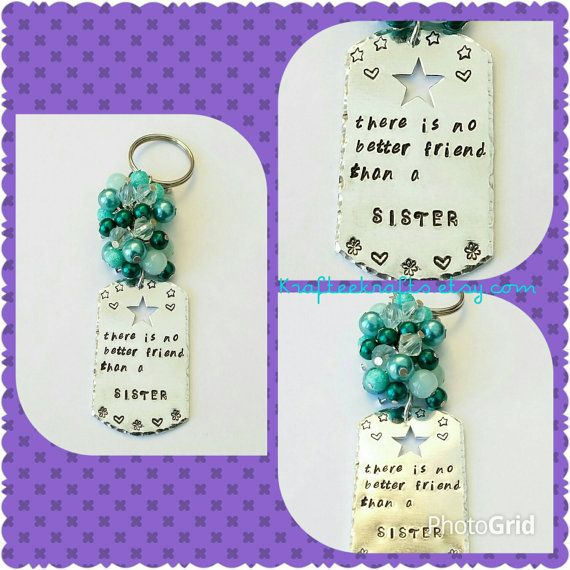 Sister beaded keyring, hand-stamped rectangle, beaded keychain, family gifts, personalised, inspirational quotes, gifts for sisters