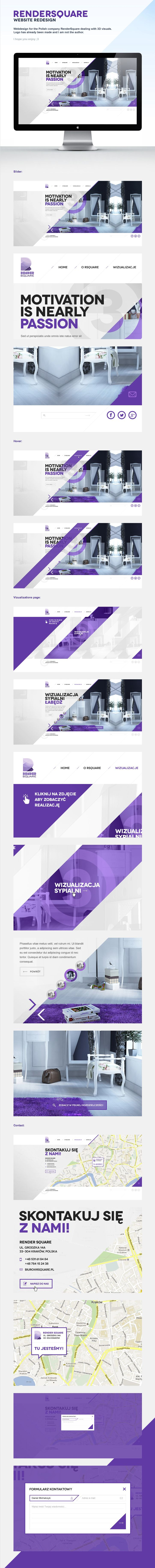 Stay up to date with daily web design news:  http://www.fb.com/mizkowebdesign    RenderSquare by Łukasz Pachytel, via Behance   ***   Website for the Polish company RenderSquare dealing with 3D visuals. Logo has already been made and I am not the author.    #webdesign #design #designer #inspiration #user #interface #ui #web