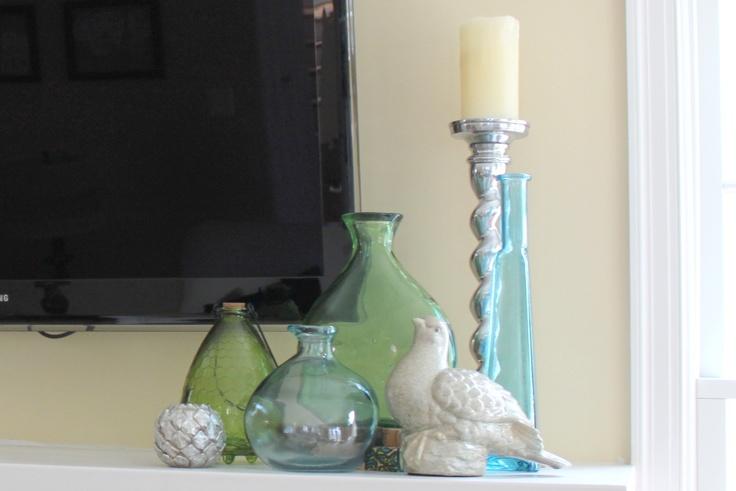 mantle: Glasses Colors, Decor Ideas, Mercury Glass, Colors Glassware, Sea Glass, Places Mantles, Mantles Ideas, Interiors Ideas, Style Ideas