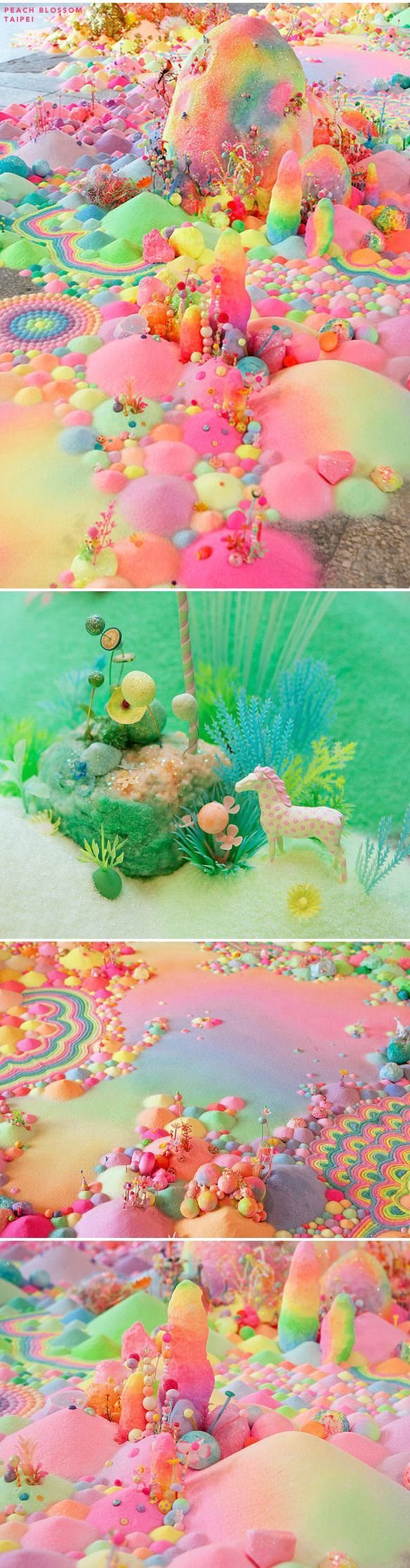 """pip pop """"Australian artist Tanya Schultz works as Pip & Pop to create immersive installations and artworks from an eclectic range of materials including sugar, glitter, candy, plastic flowers, everyday craft materials and all sorts of objects she finds on her travels. Her practice embodies both independent and collaborative processes across varying disciplines including installation, painting, wall-works and sculpture. Often ephemeral, her meticulously constructed and highly detailed works…"""