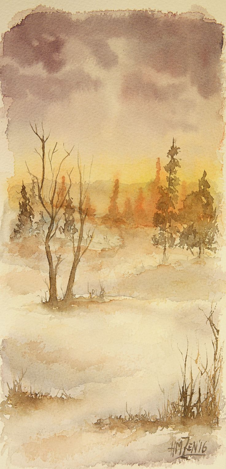 Escenas en acuarela - Luz en la nieve. Watercolor scenes - Light in the Snow. HMZEN'16