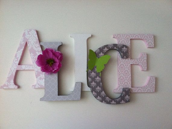 """Nursery wooden  wall letters in lavender and gray spelling out your  child's name 8 """" wall letters initial monogram"""