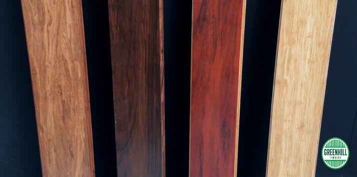 Carbonized Bamboo Flooring. From left to right: Coffee, Walnut, Cherry and Natural. Spotted Gum also available. (03) 9465 9875 www.greenhilltimbers.com.au.