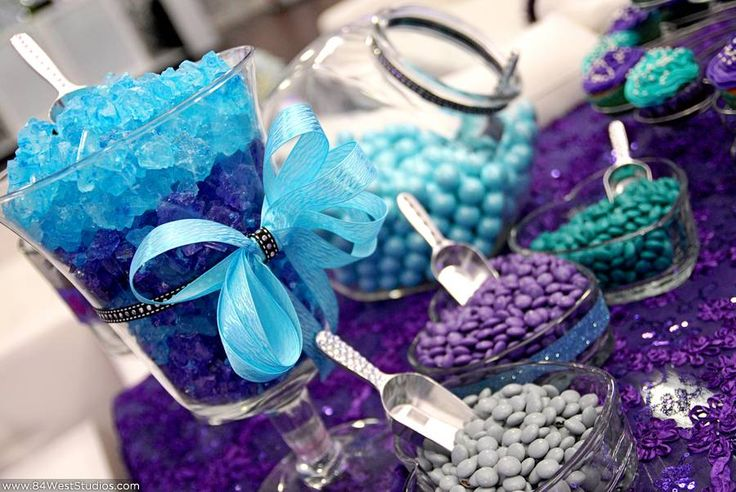 Teal turquoise tiffany blue and bright purple candy bar with rock candy, jelly beans, and pretty ribbon accents.    Lauren's Sweet 16 at A9 Event Space by 84 West Studios in Fort Lauderdale | 84 WEST STUDIOS South Florida Weddings