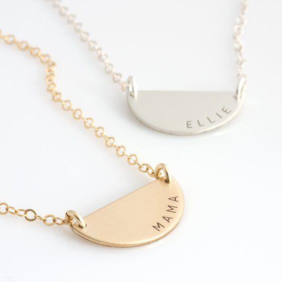Half Circle Gold Necklace Solid 14k Gold Half Moon Necklace
