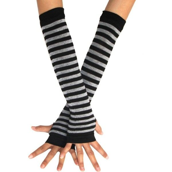 ECOSCO Punk Gothic Horizontal stripes Hand Arm Warmer Finger Gloves (7.04 CAD) ❤ liked on Polyvore featuring accessories, gloves, grey gloves, goth arm warmers, gray gloves, arm warmer gloves and black arm warmers