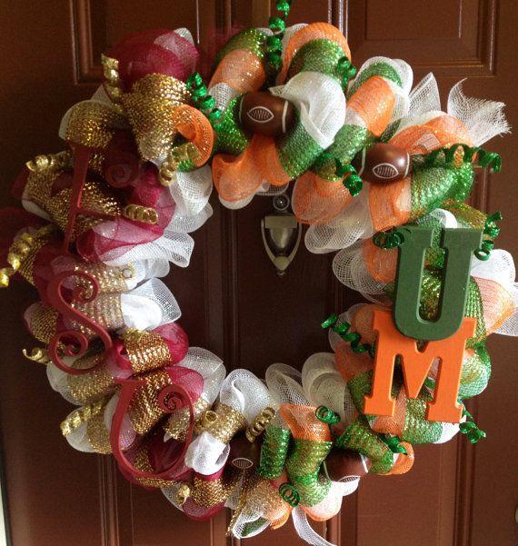 Sports Theme Wreath A house divided FSU vs UM by mahyahyvee, $65.00