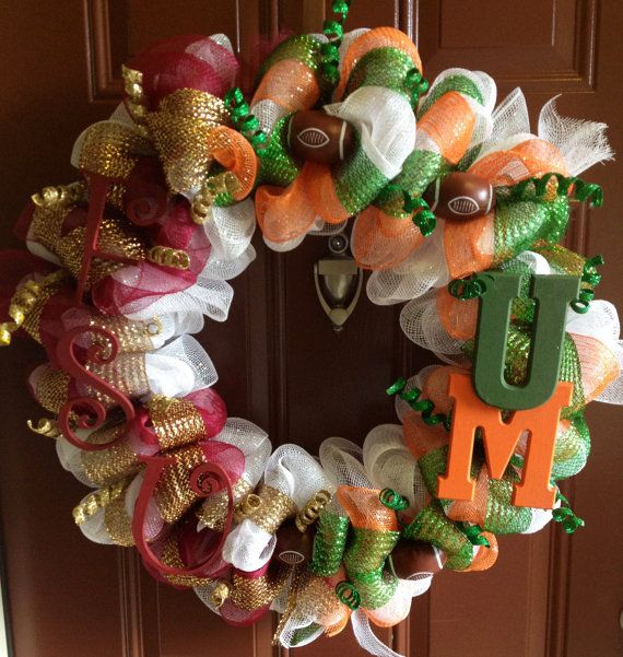 Sports Theme Wreath  A house divided FSU vs UM by mahyahyvee, $65.00