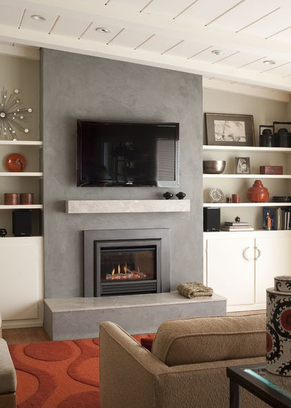 eclectic living room Fireplace Mantel