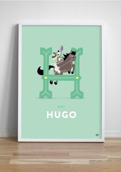 Namntavla Bokstaven H - Hund med hatt på hoppande häst!