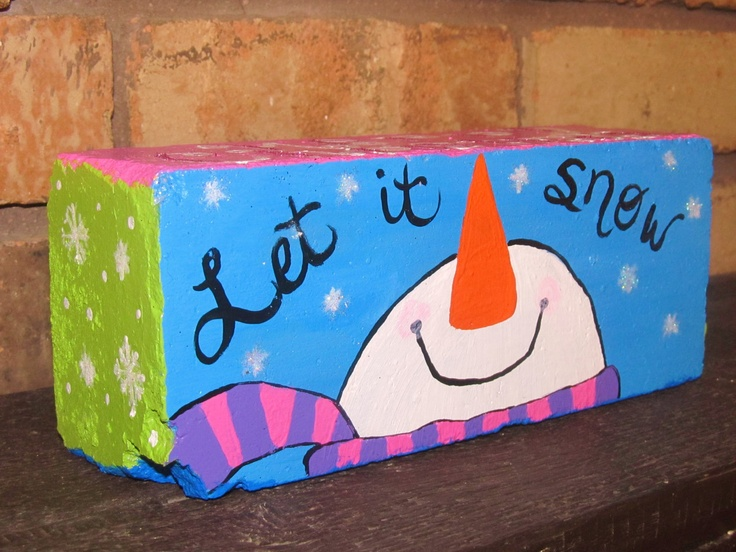 Hand Painted Merry Christmas Snowman on Salvaged Brick Unique Gift. $17.00, via Etsy.