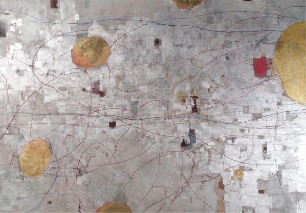 Sei Arimori Works 2007  Layers of Light (1)  oil, tempera on canvas, gold, silver leaf
