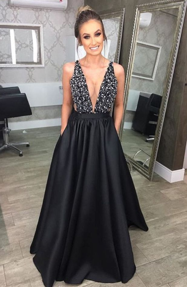 black evening gowns,satin prom dress,black prom dress,prom long dress