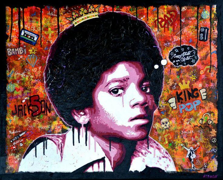 EVERY CHILD IS AN ARTIST... Portrait de Michael Jackson. Technique mixte sur toile de 100cm x 81cm
