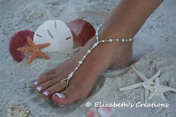 Barefoot Sandal - Simply Elegant  White Pearls Silver Beads, Beach Wedding Shoes, Destination Wedding, Beach Wedding Sandals, Bridal Shoes