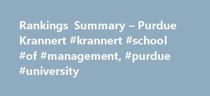 Rankings Summary – Purdue Krannert #krannert #school #of #management, #purdue #university http://iowa.nef2.com/rankings-summary-purdue-krannert-krannert-school-of-management-purdue-university/  # Rankings Summary Undergraduate Programs Bloomberg Businessweek (2014) # 57 – Business program in the U.S. U.S.News World Report (2016) # 4 – Production/Operations Management# 4 – Quantitative Analysis/Methods# 9 – Supply Chain Management/Logistics# 17 – Management Information Systems# 23 – Business…