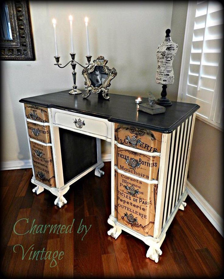 Beautifully upcycled vintage desk ... paint, wood stain and font decals or stencilling giving a fabulous result.