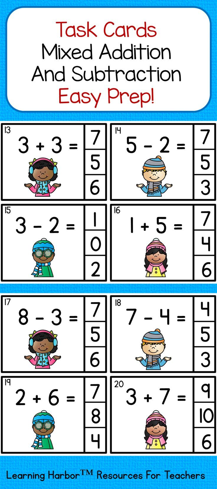 Mixed Addition And Subtraction Within 10 Winter Theme Do You Need An Activity For A Guided Math Group M Addition And Subtraction Online Math Help Task Cards Mixed addition and subtraction within