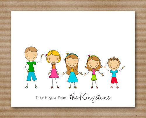 Personalized Stick Family Cards / Stationery by PaperHouseDesigns, $12.00
