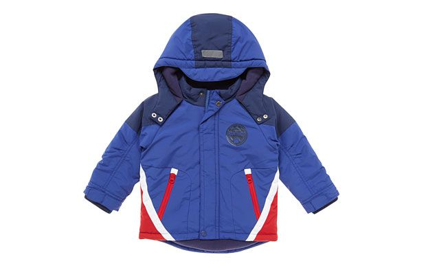 "Blue Ski Jacket. ""The sporty panels and bold colour palette give this cool jacket retro appeal."""