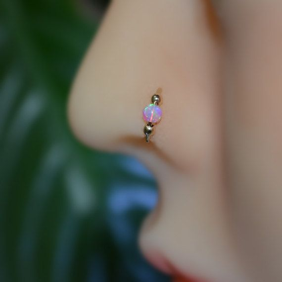 Extra Small Sterling Silver Opal Nose Ring, 20g Opal Hoop Earring, cartialge, tragus, helix nose piercing 20 Gauge nose rings