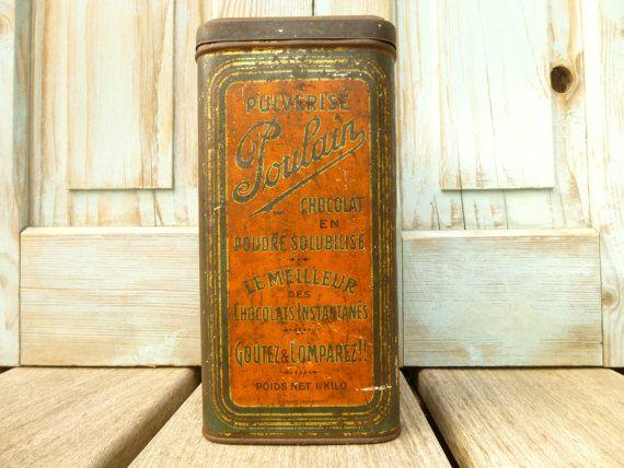 Ancienne boîte publicitaire française en par LeGrenierDeFrancine