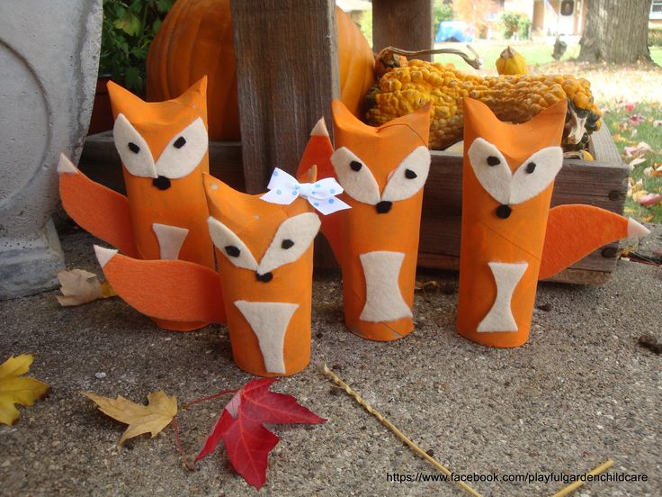 Feeling Foxy.  Our Red foxes made from paper towel & tp rolls, paint, felt…