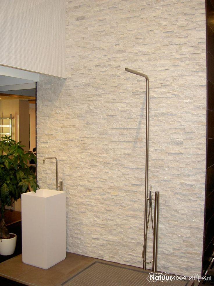 ... Marmer Natuursteenstrips - douche badkamer - Badkamer  Pinterest