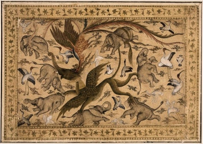 A Simurgh attacking a Rukh; single-page drawing on a detached album folio. Depiction of a Simurgh (a legendary phoenix-like bird) attacking a Rukh, known in India by name as Gaja-Simha (Elephant-Lion), which is carrying off elephants. The rukh is the mythical enemy of the elephant. The figures are surrounded by wisps of clouds, ducks and cranes. Drawing is tinted and has some portions over-painted. Ink and opaque watercolour on paper. Mughal, 17th Century