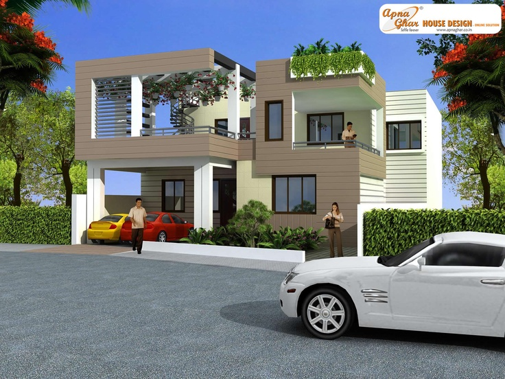 4 bedroom, modern duplex (2 floor) house design.Click on this link (http://www.apnaghar.co.in/pre-design-house-plan-ag-page-63.aspx) to view free floor plans (naksha) and other specifications for this design. You may be asked to signup and login. Website: www.apnaghar.co.in, Toll-Free No.- 1800-102-9440, Email: support@apnaghar.co.in