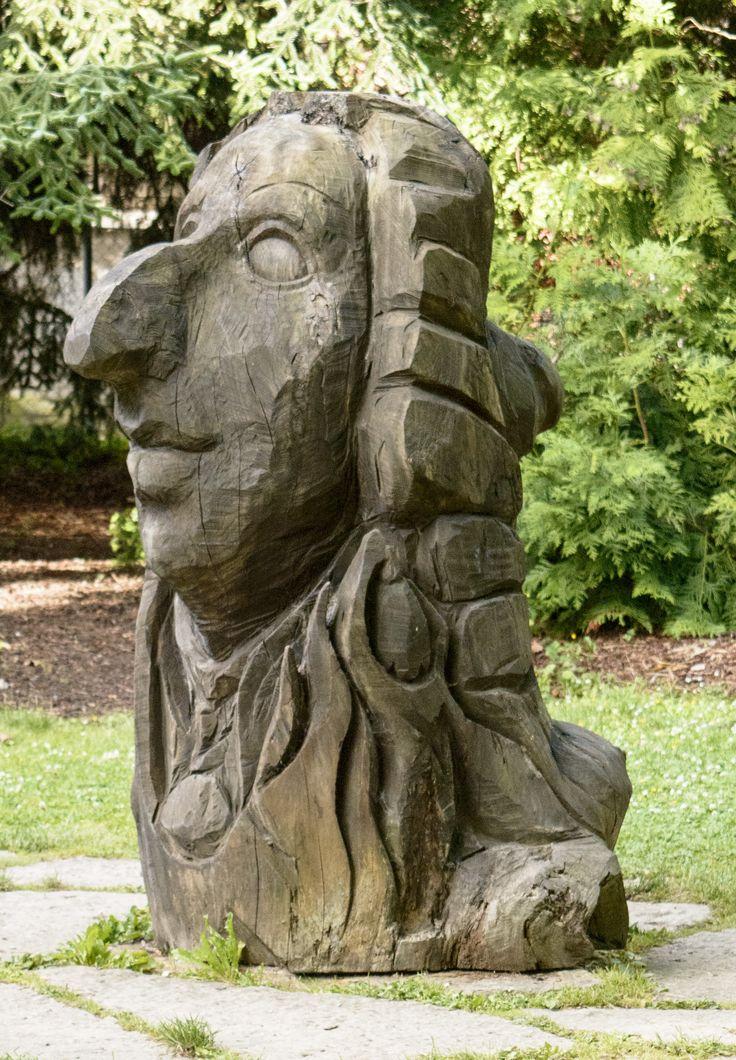 Träskulptur av Carl von Linné. Står i Botaniska trädgården i Visby.
