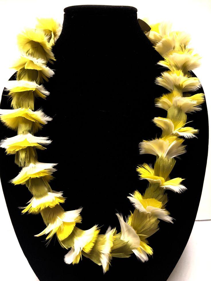 Feather lei yellow white carnation blossom, handmade hawaiian wedding lei, gift a feather lei, hat lei, carnation garland, lei hulu
