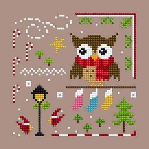 Owl Christmas Ornie 1 PDF cross stitch chart Helga Mandl Designs - Other