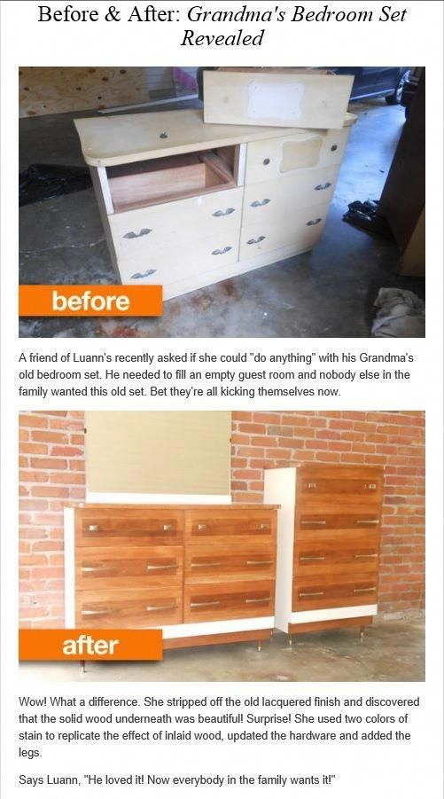 Before  After Grandma\u0027s old bedroom set #Recliningsofa - Used Bedroom Sets