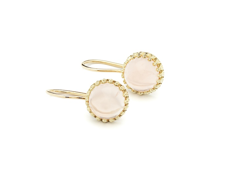 Earrings yellow gold 14 carat with rose quartz