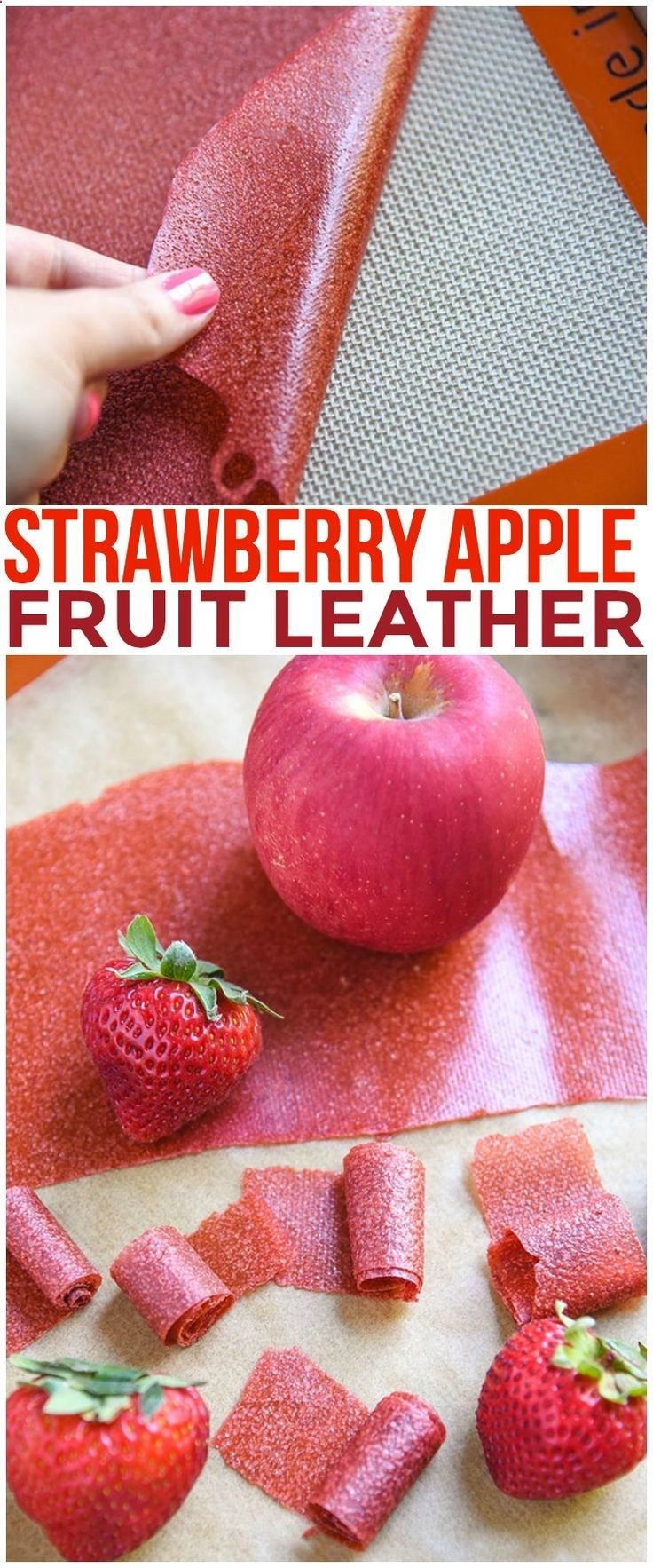 Were taking you back to childhood with our Homemade Fruit Leather Recipe! Organic applesauce and organic strawberries are all you need for this Strawberry Apple Fruit Leather Recipe.Organic applesauce via @CourtneysSweets
