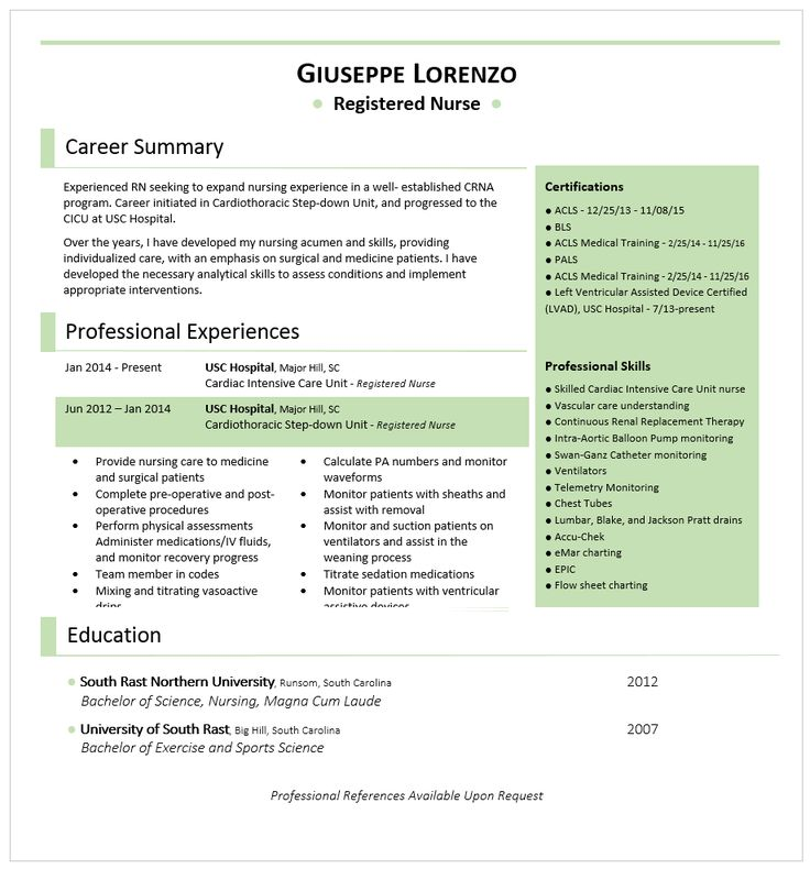 52 best Best Resume and CV Design images on Pinterest Resume - anesthetic nurse sample resume